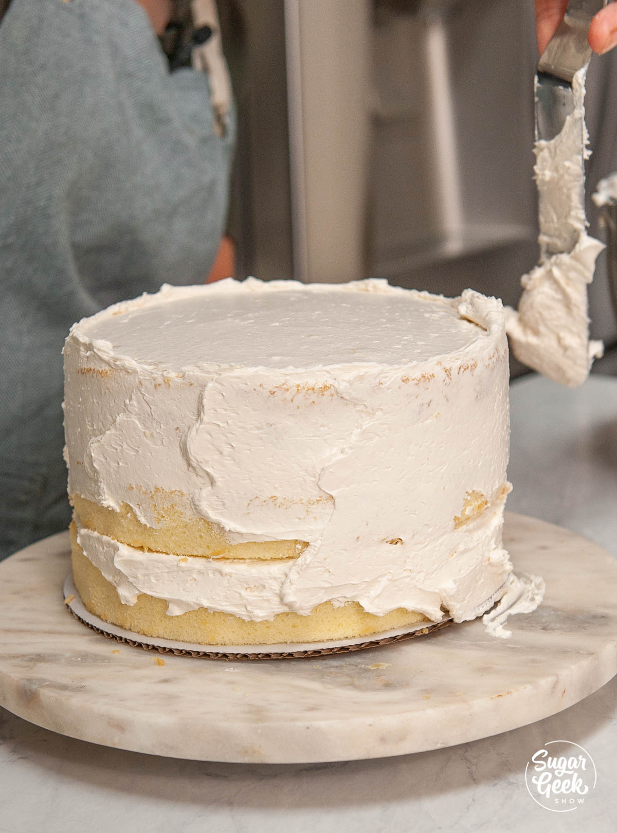 vanilla cake with a crumb coat