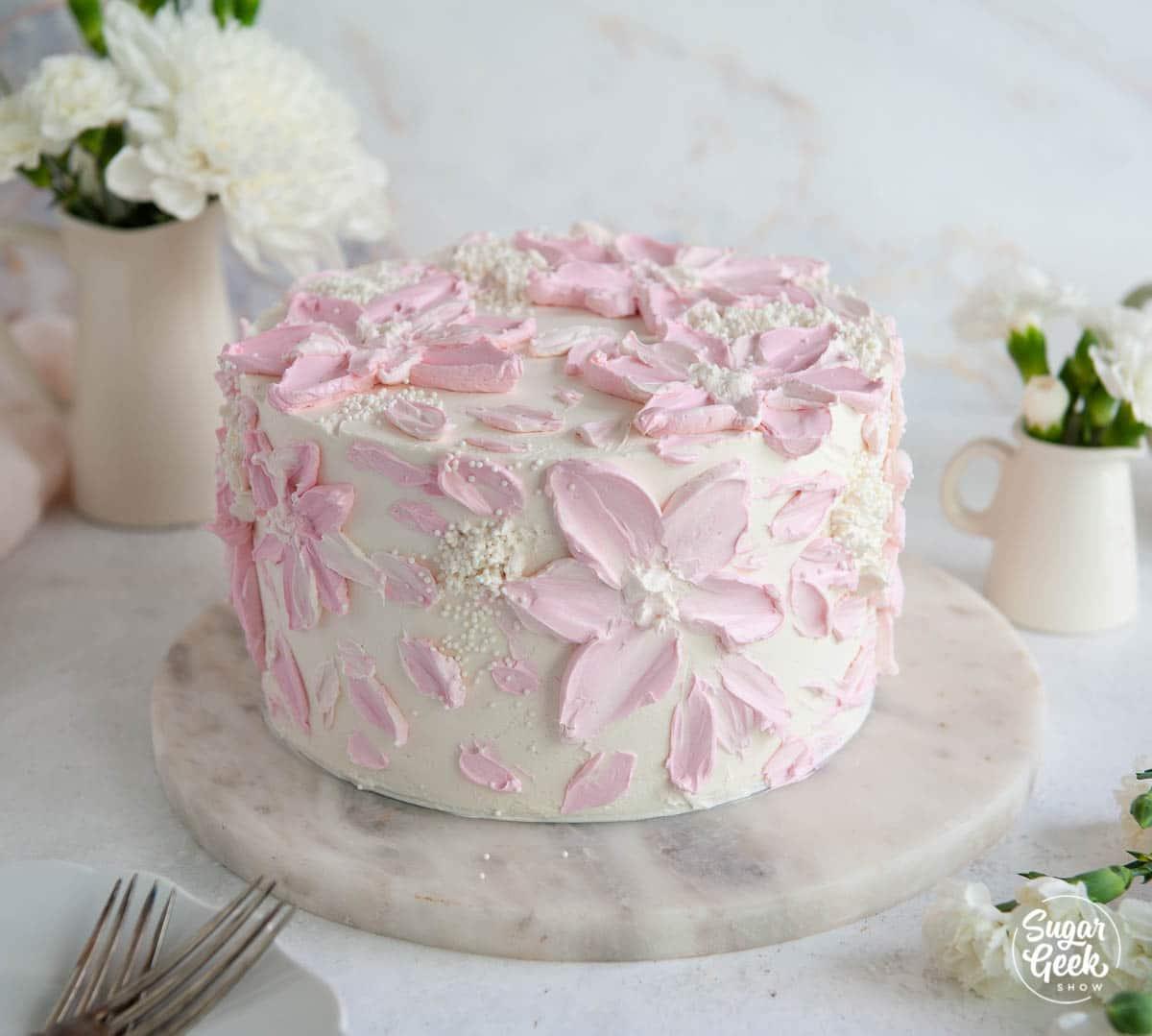 buttercream cake on a white background