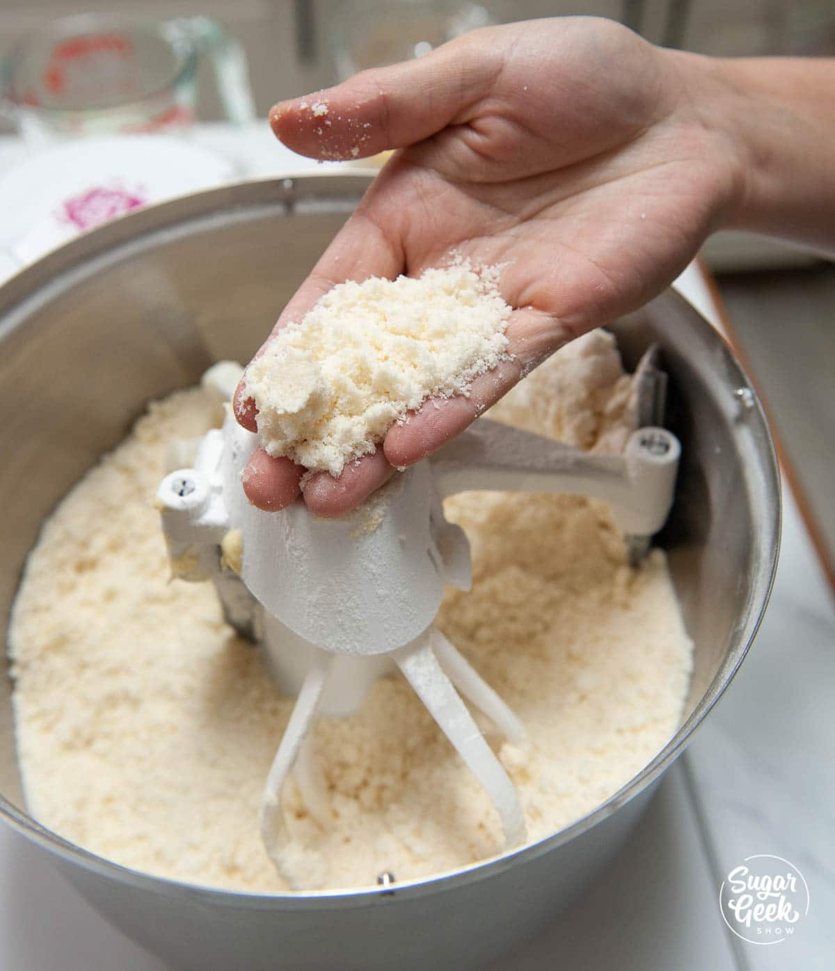 vanilla cake ingredients in a mixing bowl