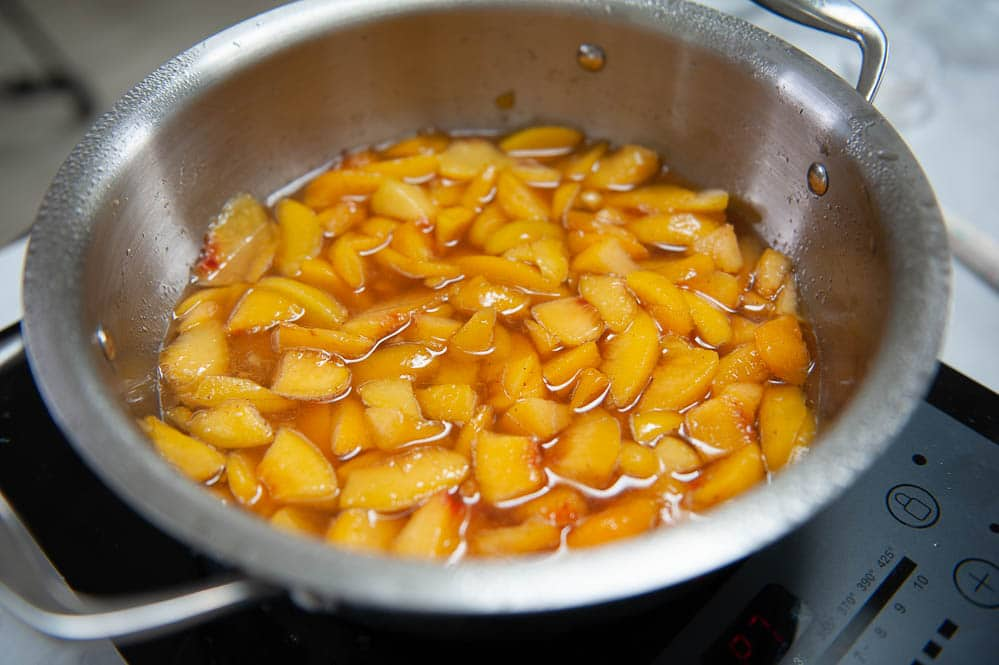 peach filling in a stainless steel pan