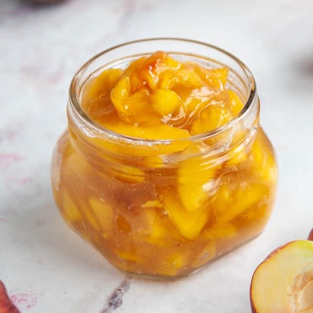 peach pie filling in a glass jar
