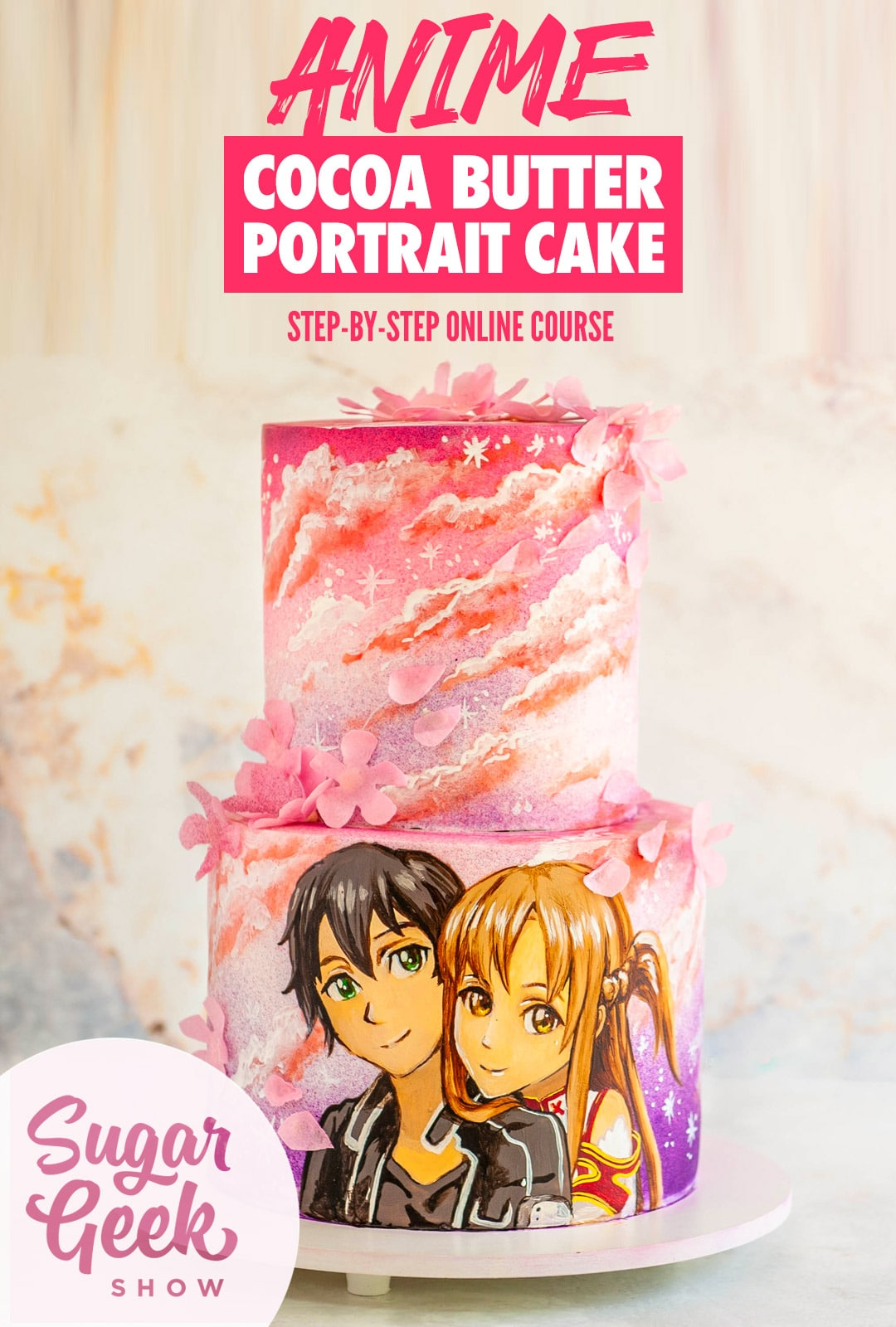Stacked cake with airbrushed color, cocoa butter painted clouds and a portrait of anime characters painted on the side