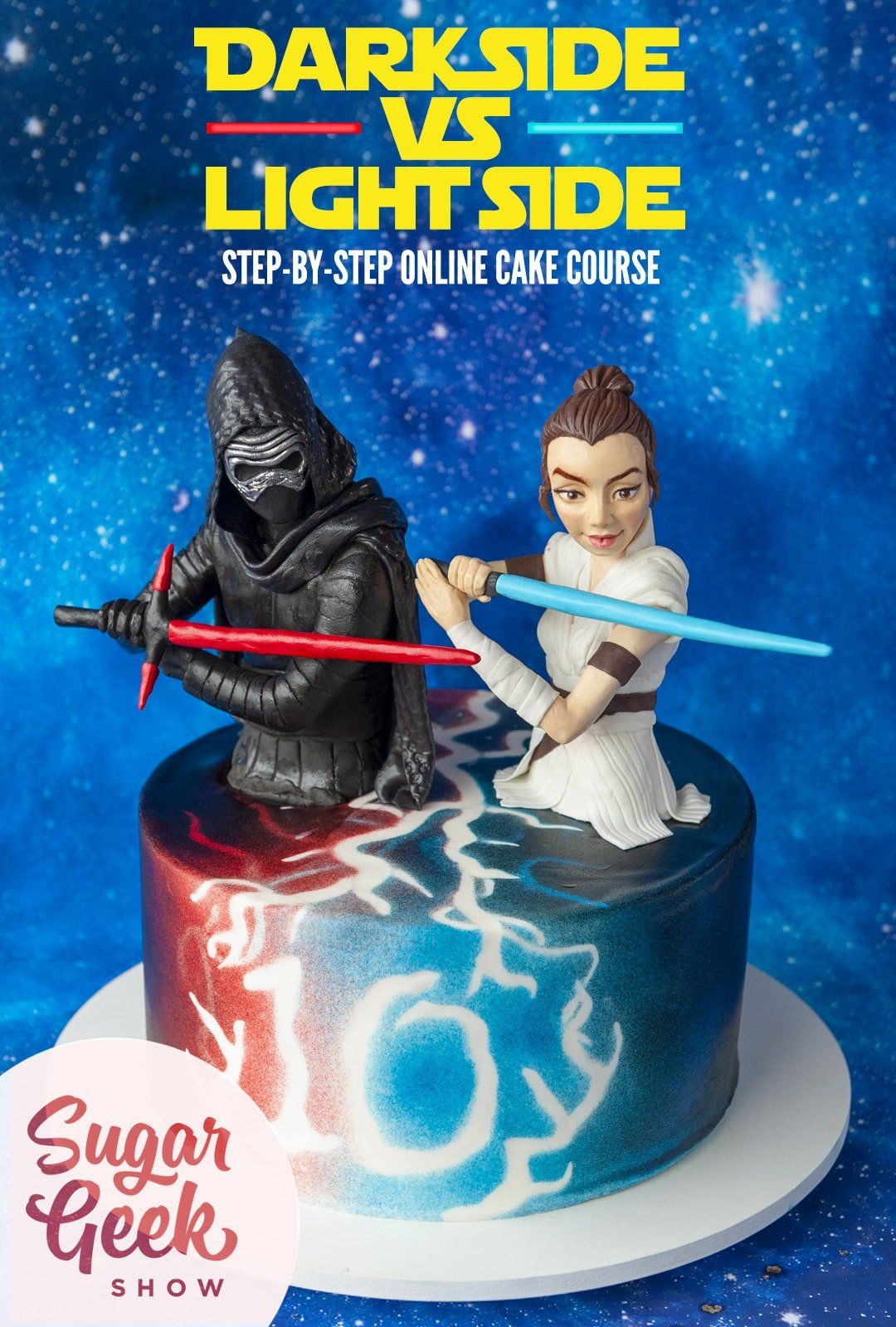 Birthday cake with red and blue lightning spelling out number 10 and Rey and Kylo Ren sculpted cake toppers holding lightsabers