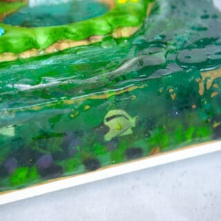 detail picture of gelatin ocean with floating edible fish inside