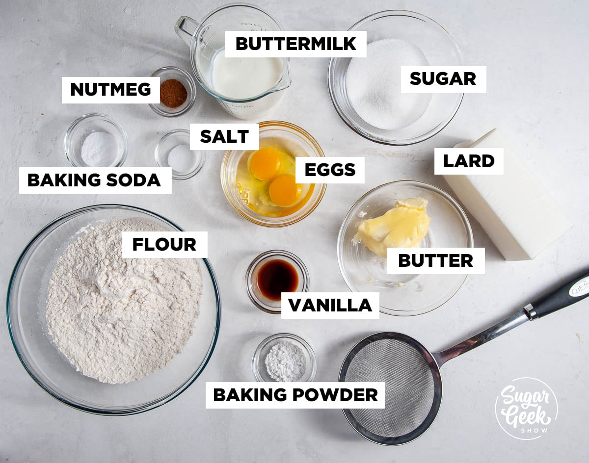 cake donut ingredients separated into bowls