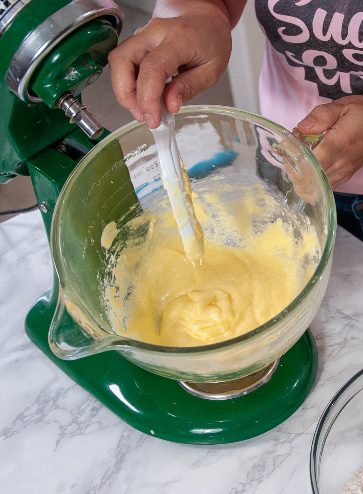 close up of eggs, sugar and butter mixture