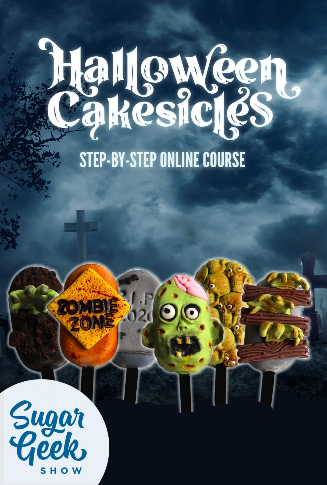 Halloween-themed cakesicles that look like zombies, tomestones, warning signs and zombie hands