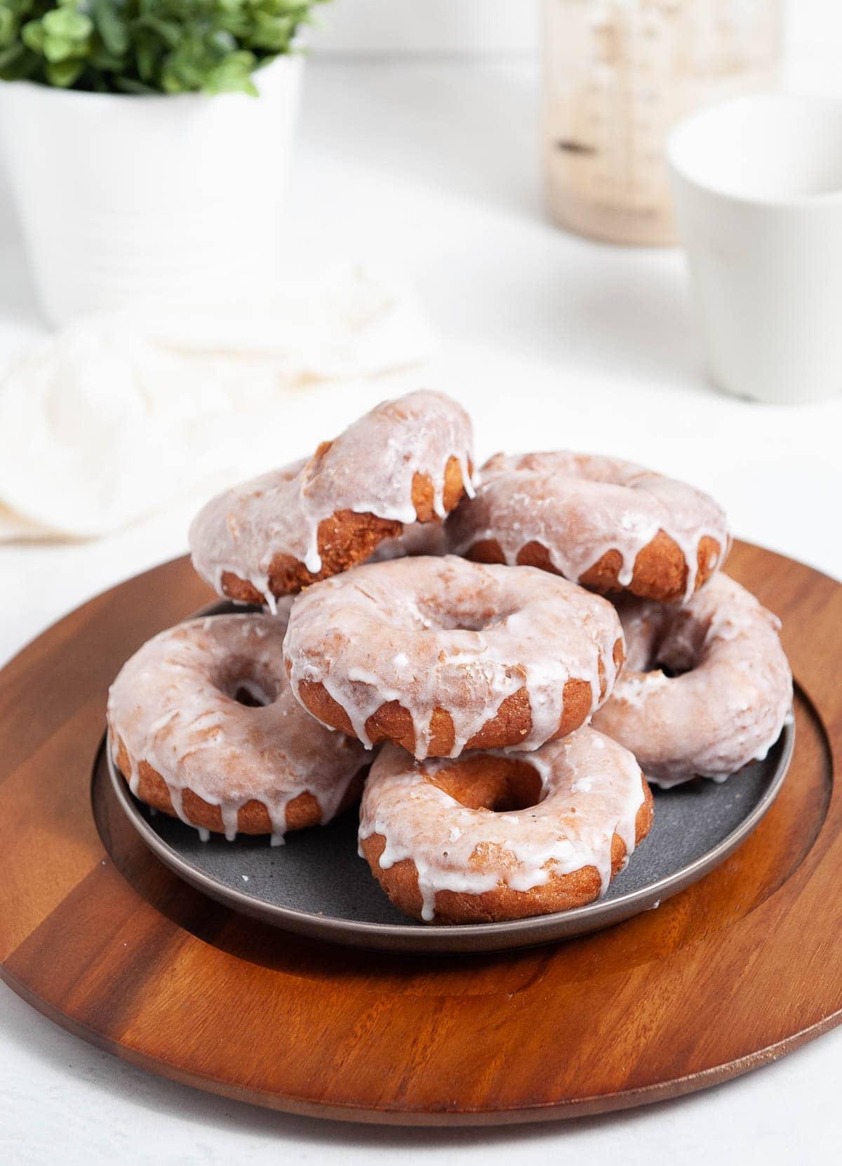 glazed sourdough donuts on a plate