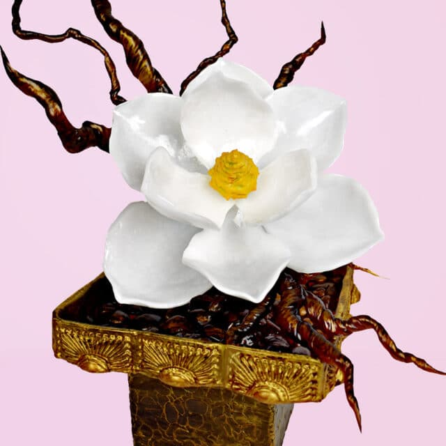 Magnolia flower and pot made out of sugar with branches