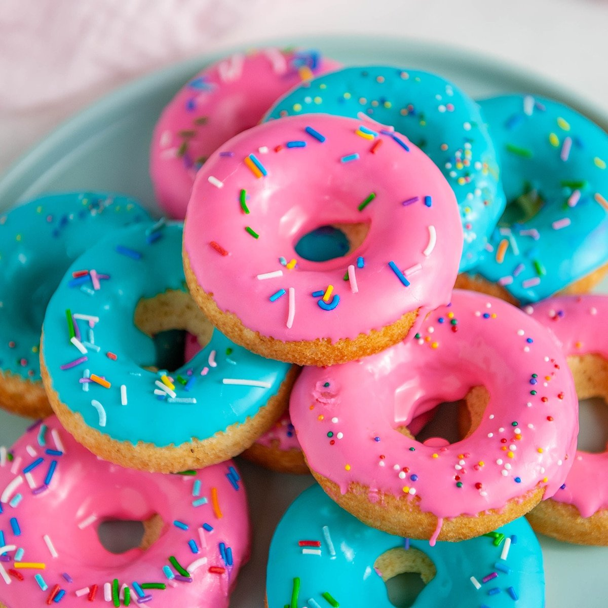 Classic Baked Donut Recipe With Colorful Glaze With Colorful Glaze Sugar Geek Show