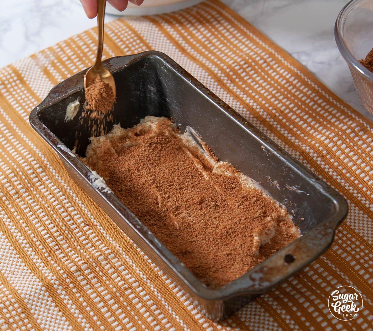 cinnamon sugar mix on cake batter