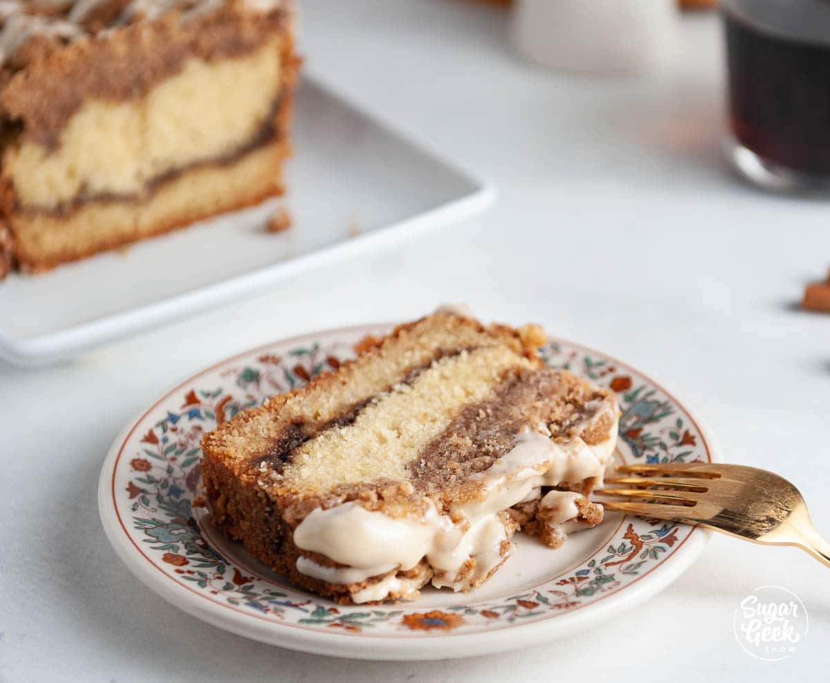 close up of coffee crumb cake on a plate