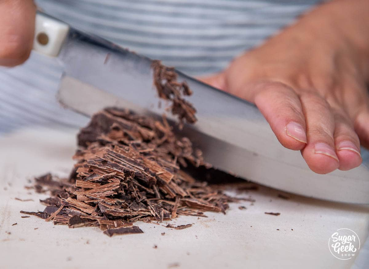 chopping chocolate with a knife