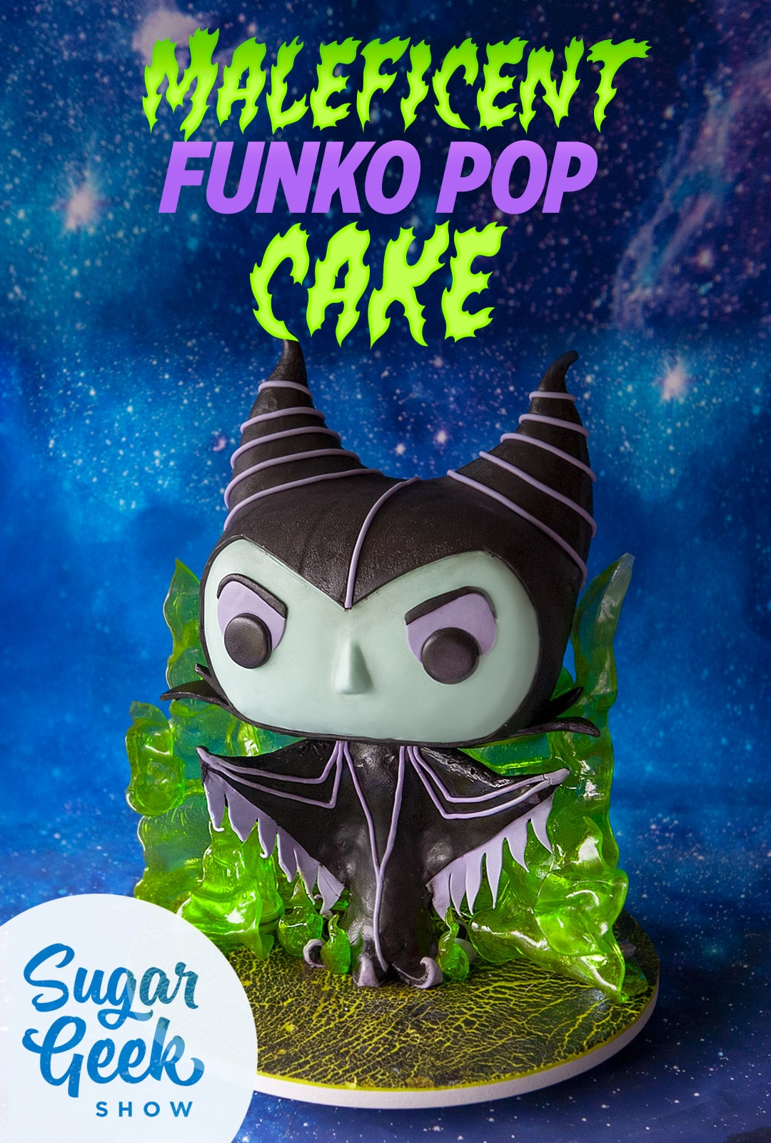 Cake sculpted to look like a funko pop maleficent figurine