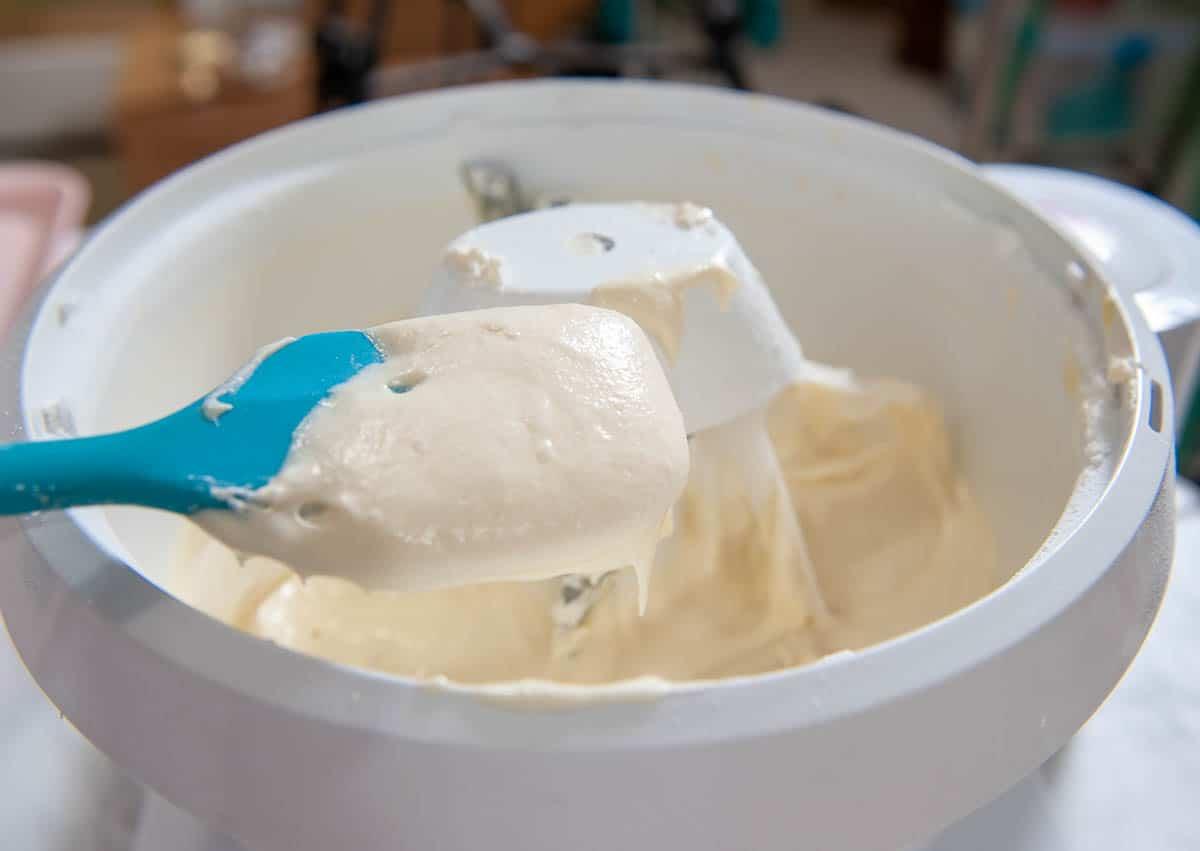 buttermilk cake batter on a blue spatula