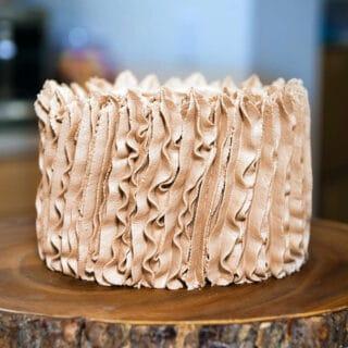 smash cake with chocolate whipped cream