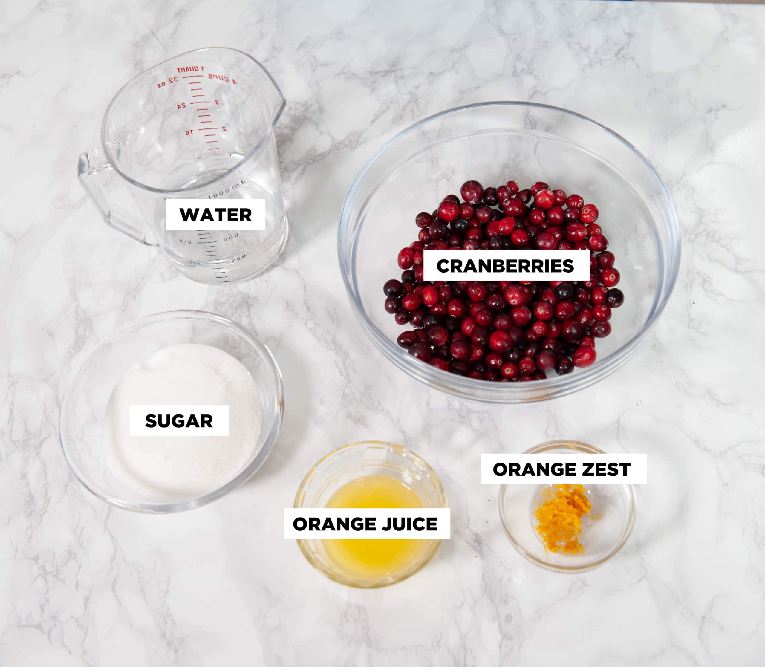 cranberry sauce ingredients in clear bowls
