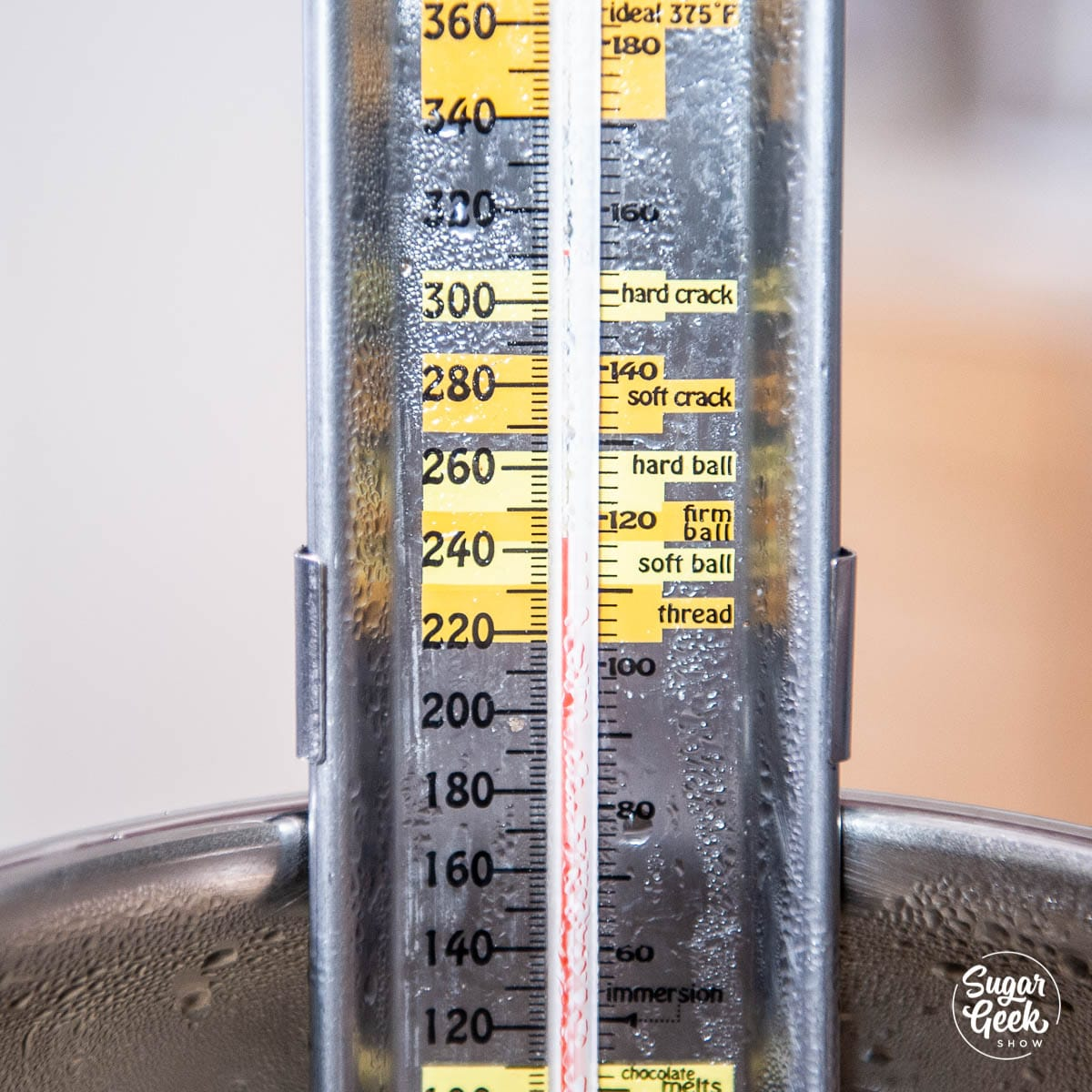 close up of candy thermometer