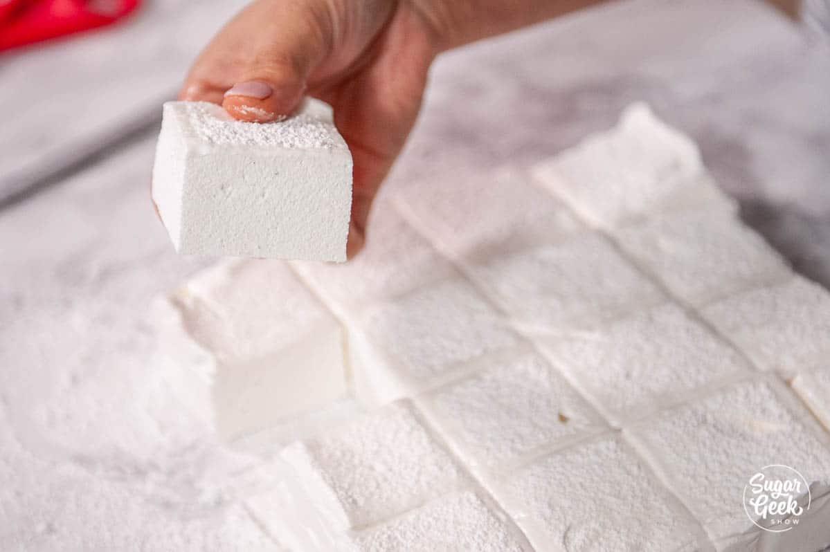 hand holding a cut homemade marshmallow