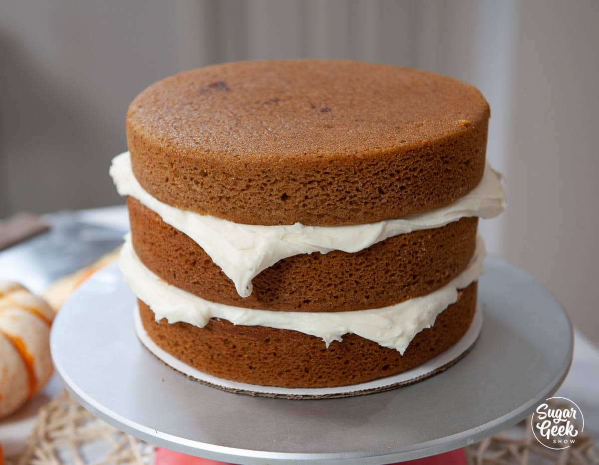 pumpkin cake layers with cream cheese frosting