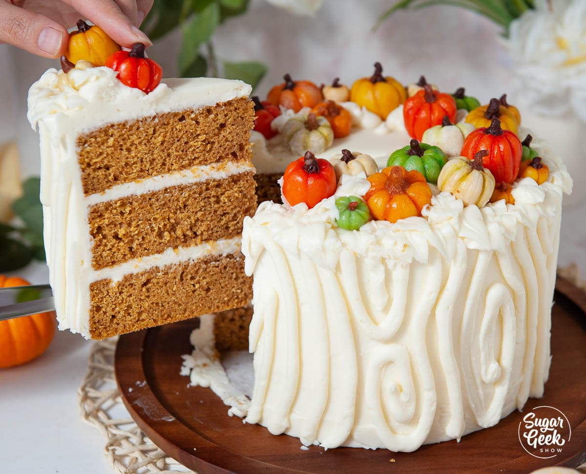 pumpkin spice cake with slice being take out