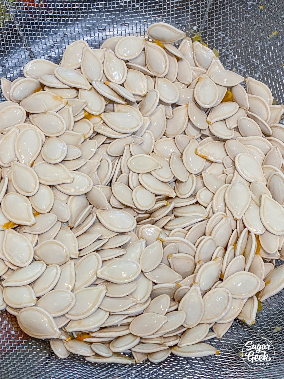 pumpkin seeds in a colander