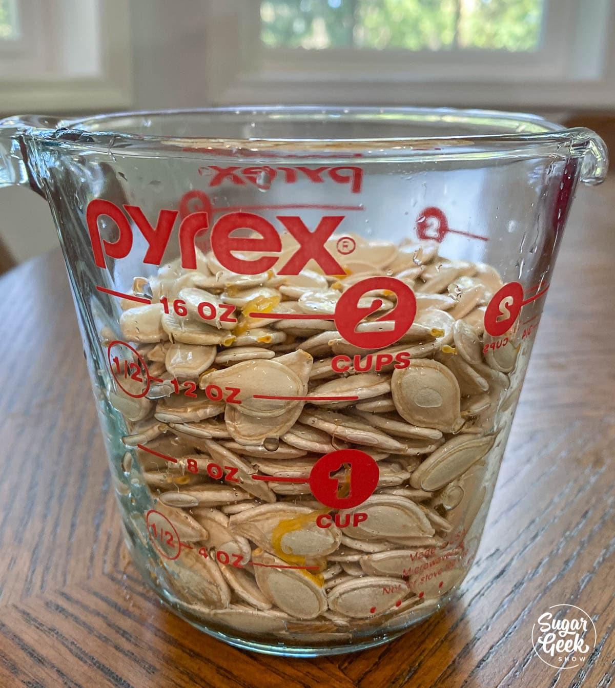 semi di zucca in un misurino