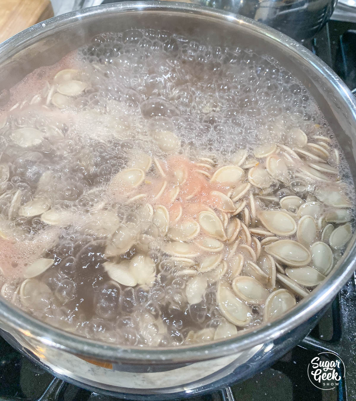 boiling pumpkin seeds in salted water