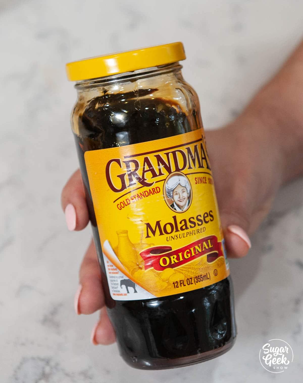 grandmas sulfured molasses in a jar