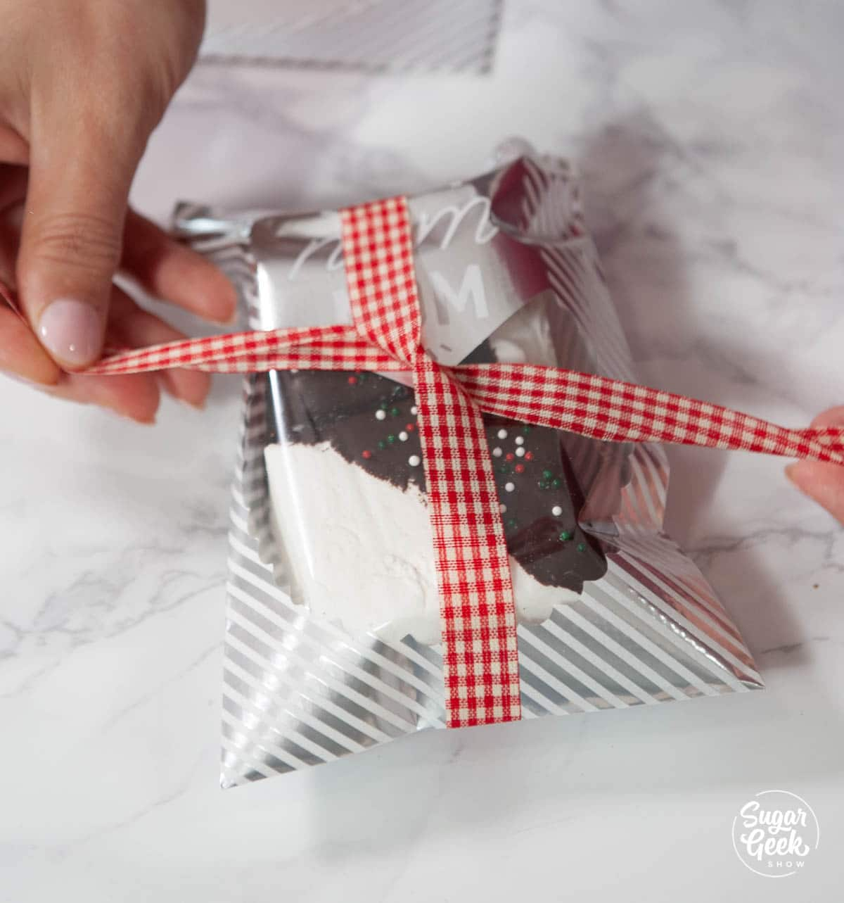 homemade marshmallows in a goodie bag with a ribbon