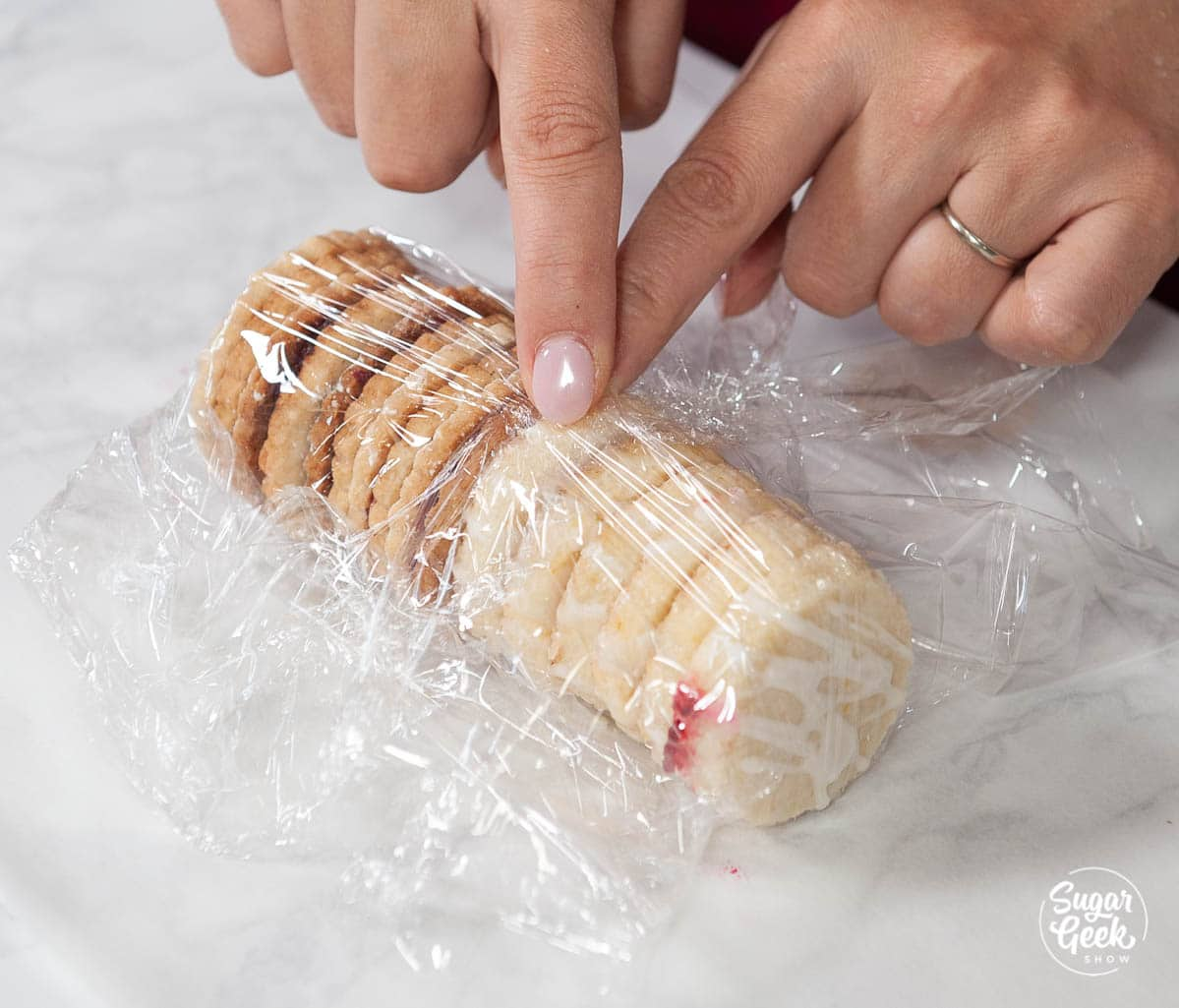 wrapping cutout cookies in plastic wrap