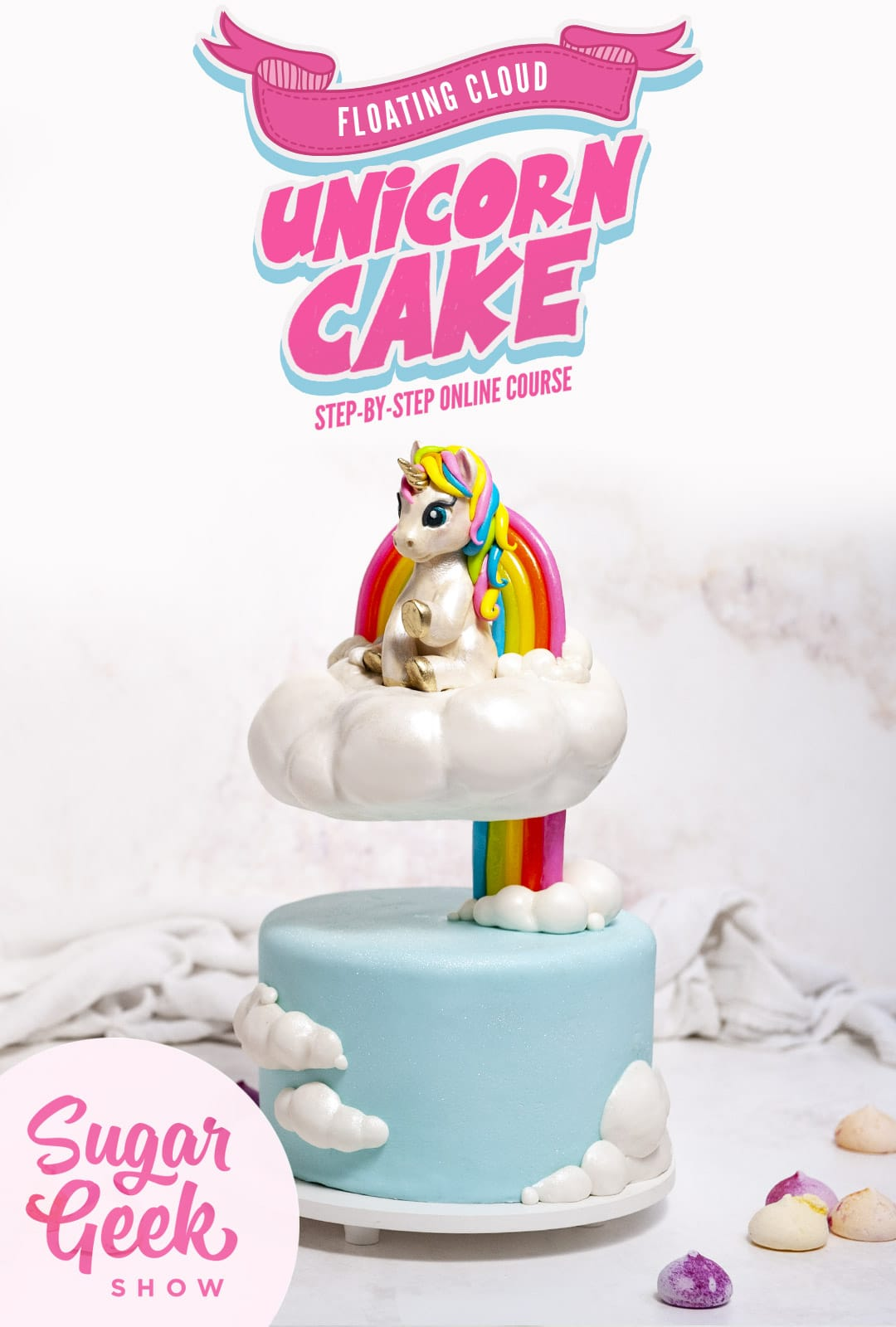 Cake sculpted to look like a unicorn sitting on a floating rainbow cloud