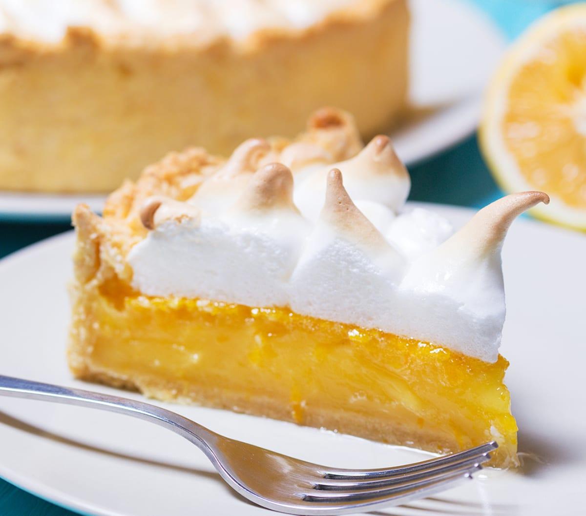 close up of lemon meringue pie slice