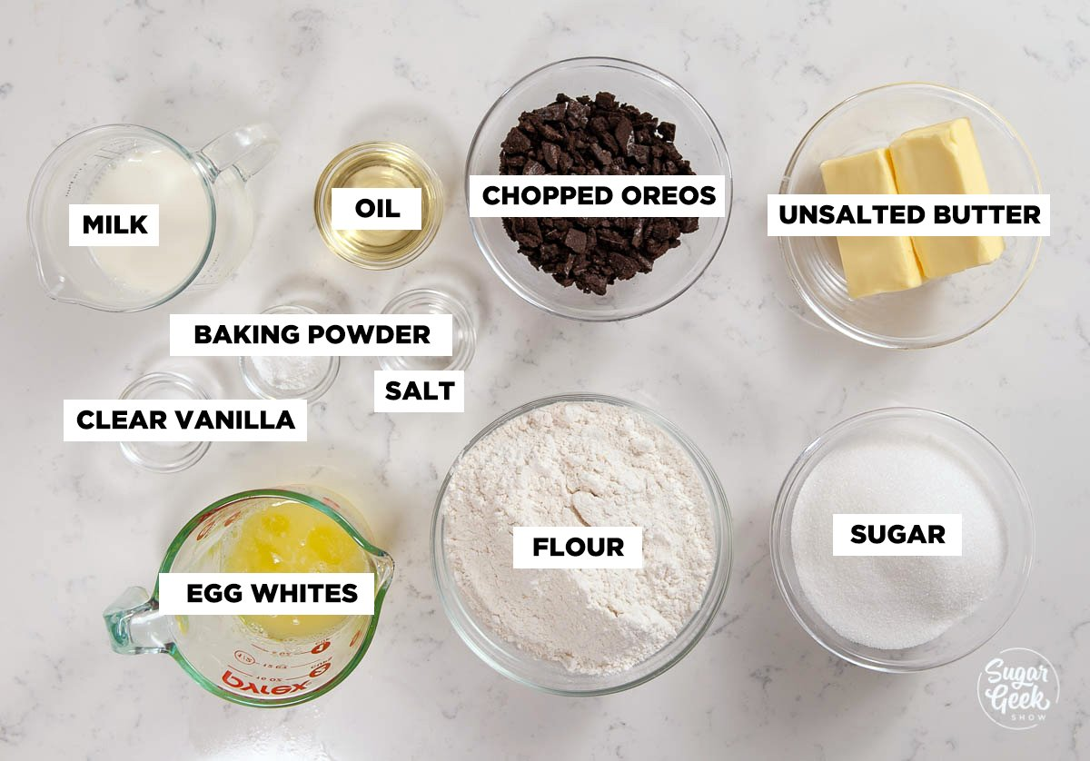 oreo cake ingredients in clear bowls
