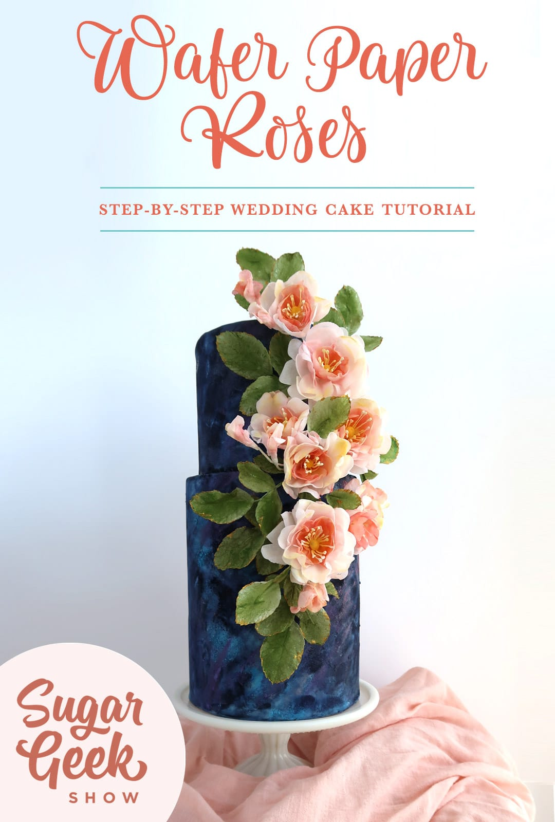 Wafer Paper Roses on a textured wedding cake