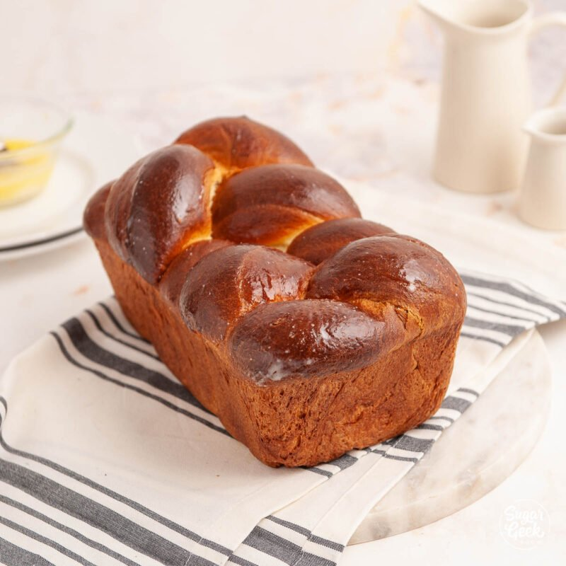 loaf of brioche bread on a white background