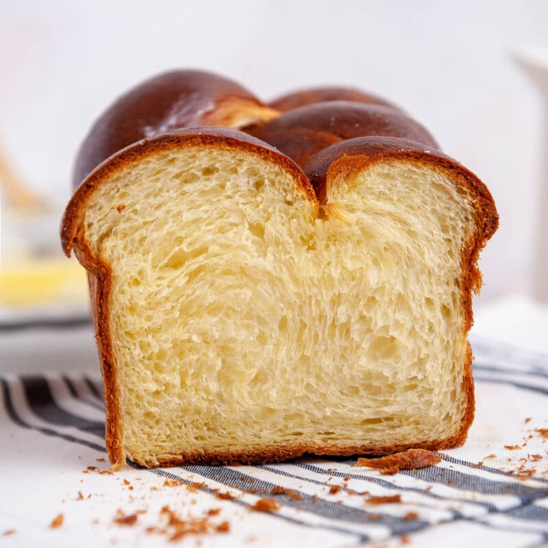 closeup of sliced brioche bread