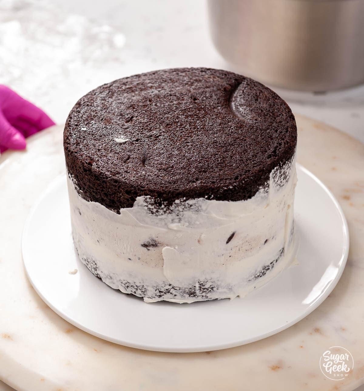 thin layer of whipped cream on ice cream cake