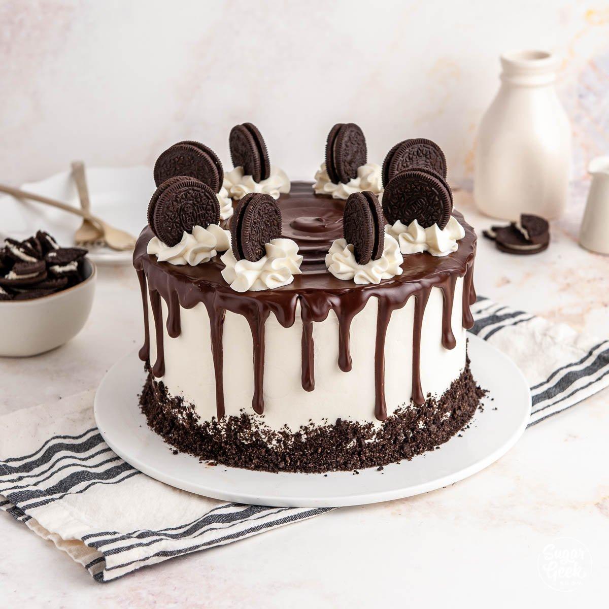 oreo ice cream cake on a white background