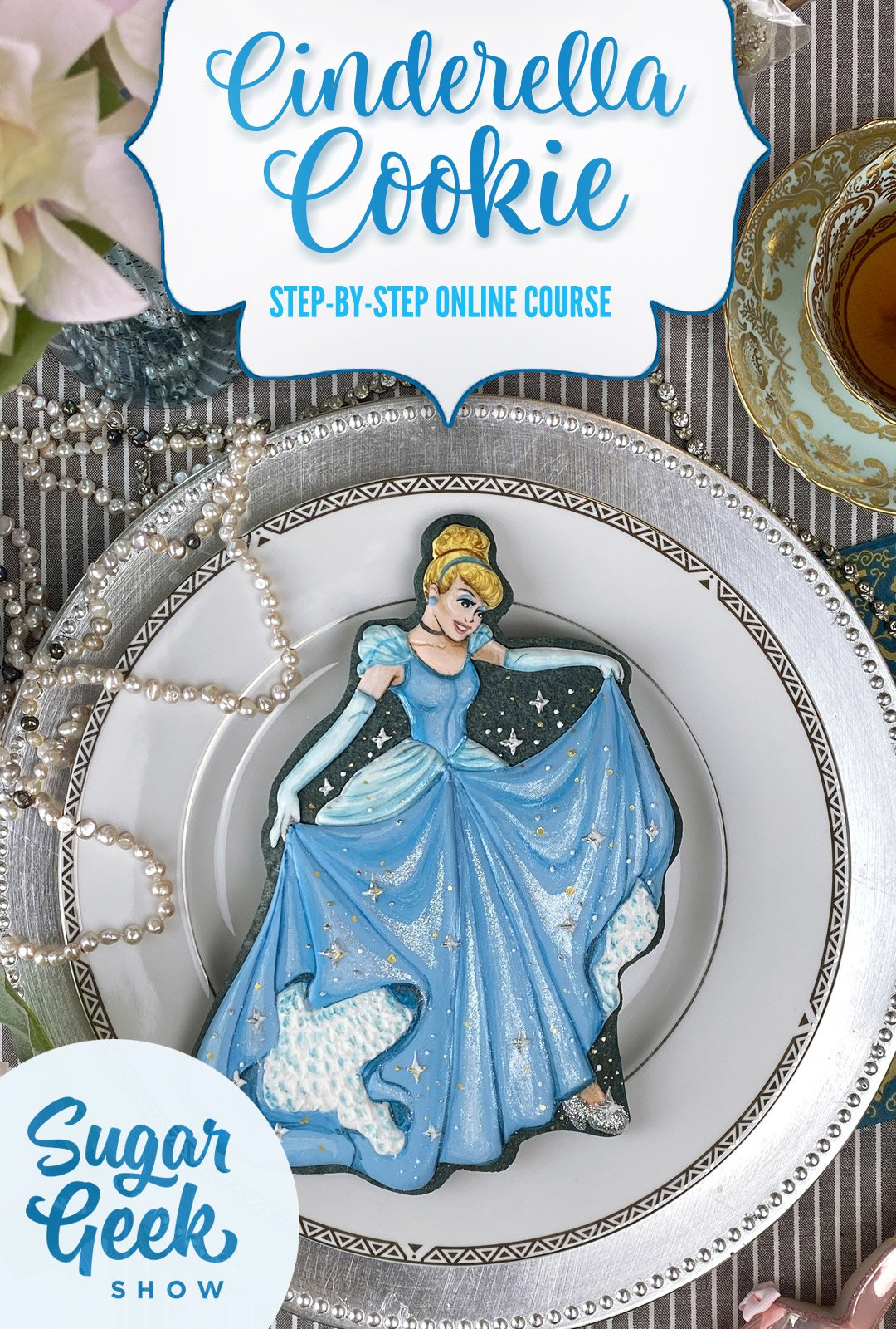 sugar cookie designed and detailed to look like Cinderella