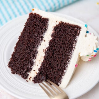 closeup of cake slice on a white plate