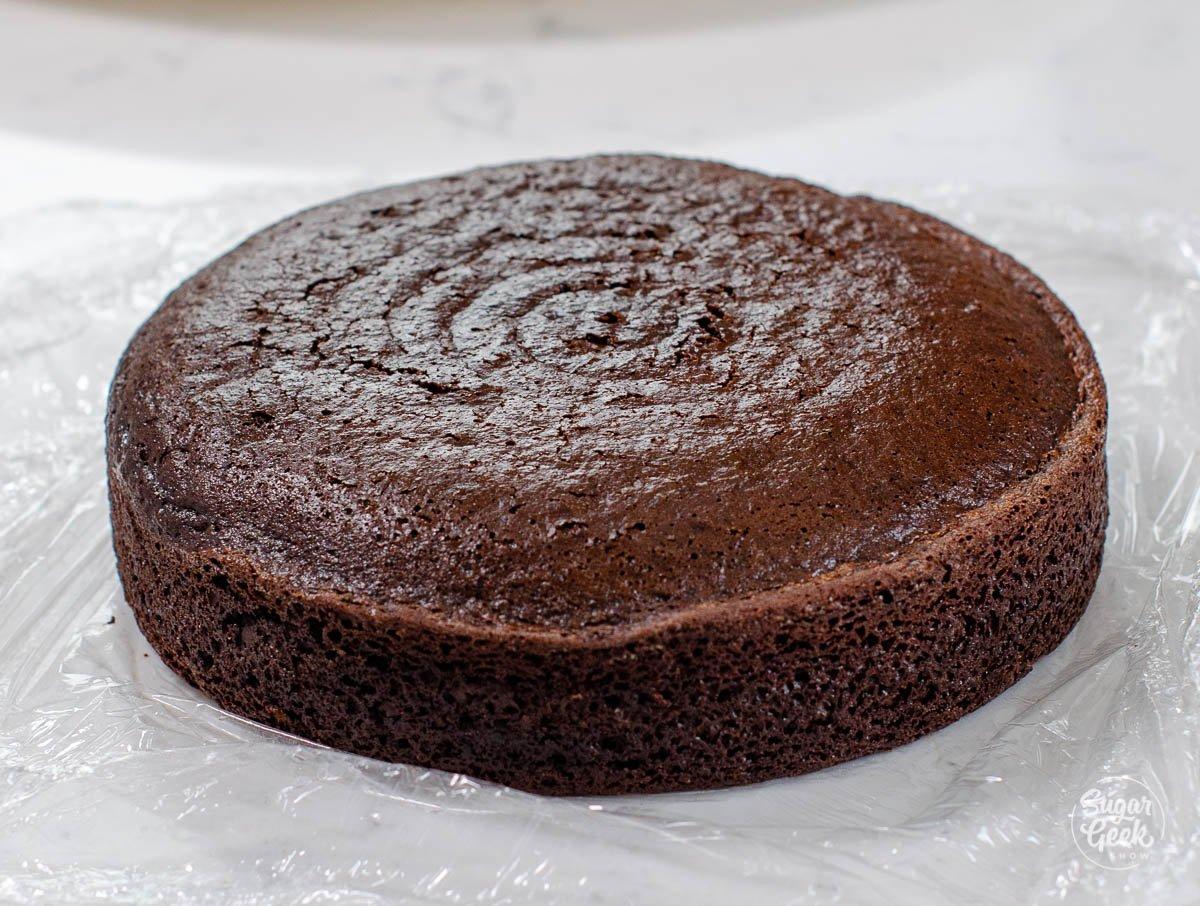 closeup of eggless chocolate cake layer