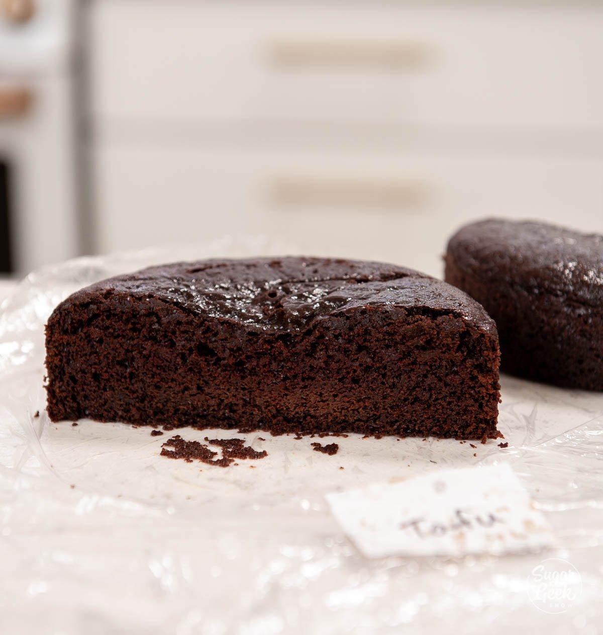 chocolate cake sliced in half