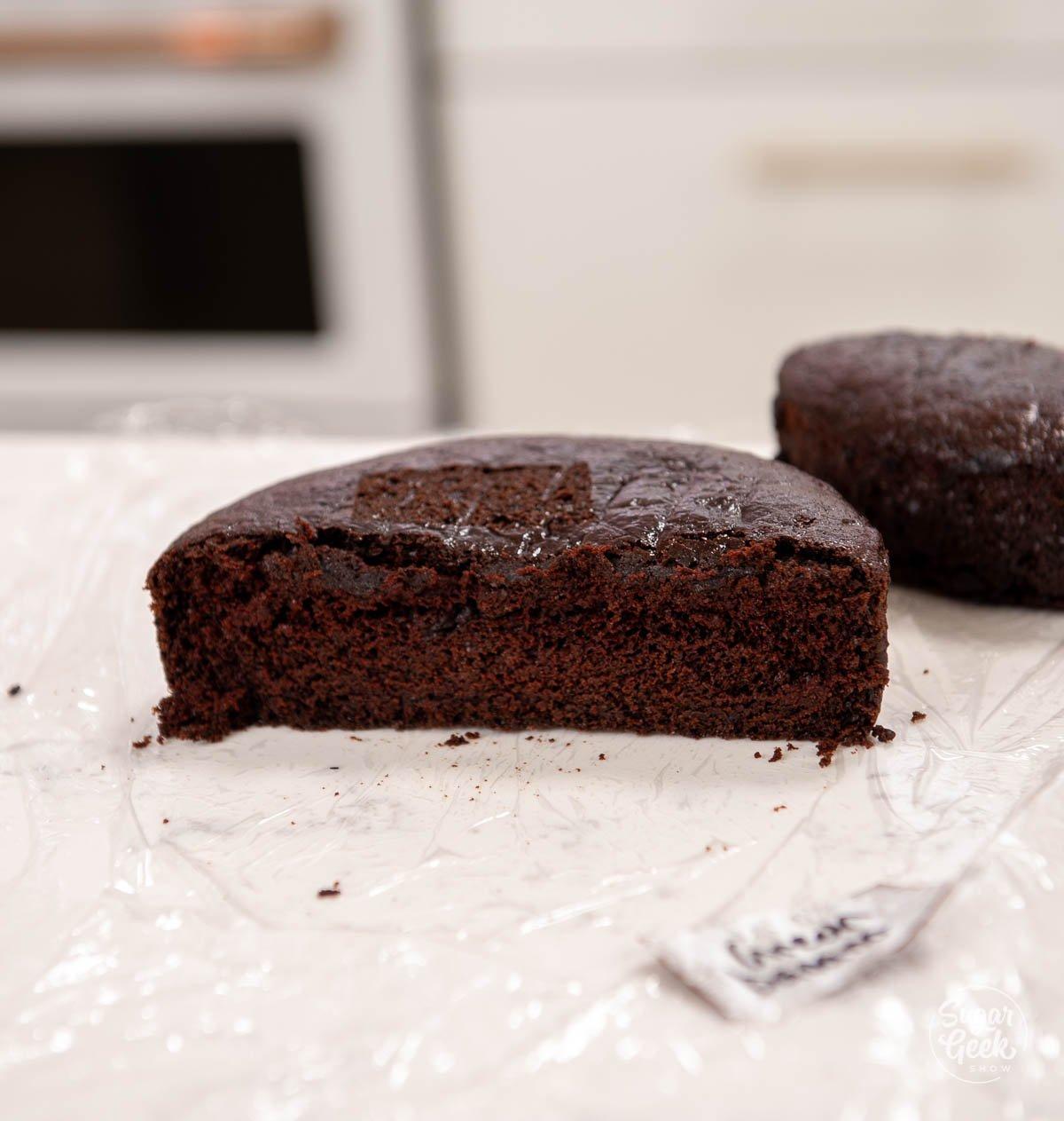 chocolate cake cut in half