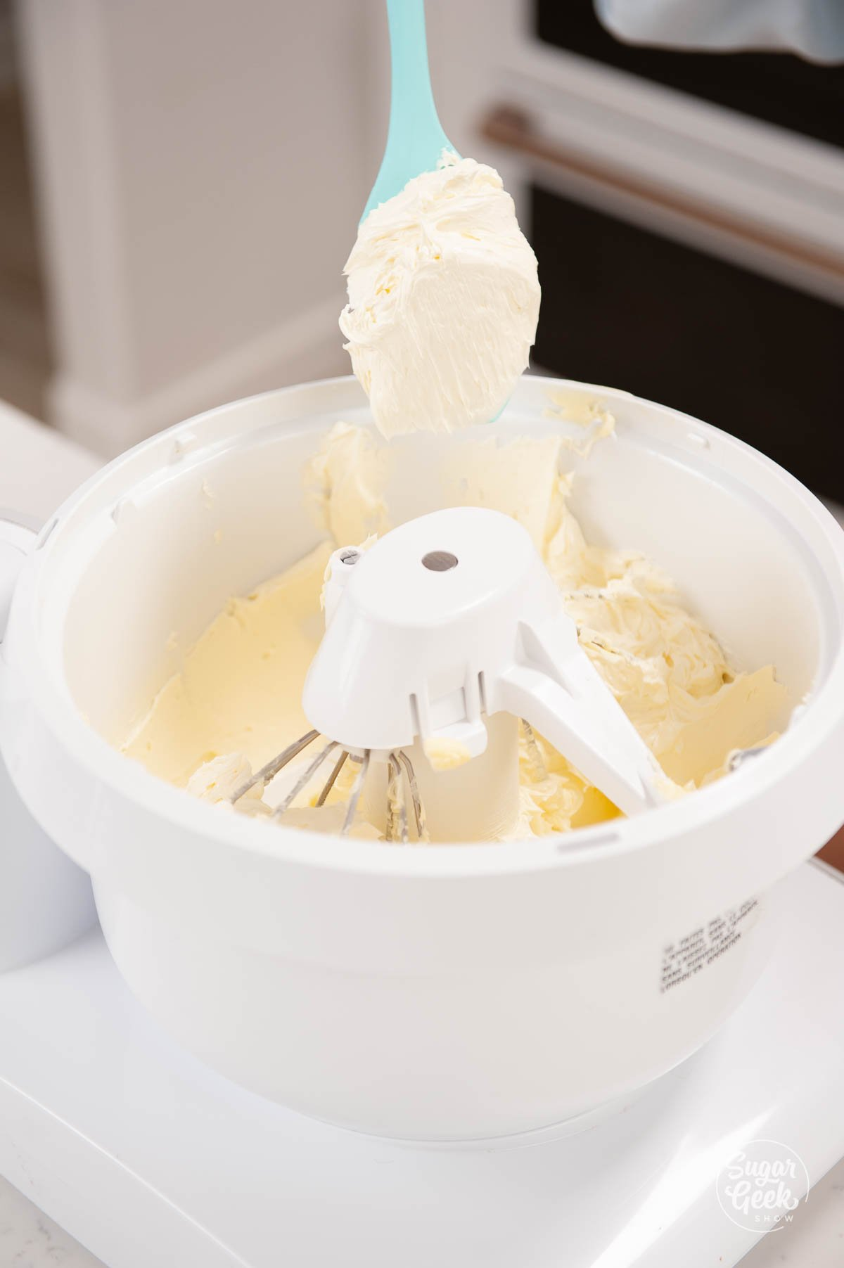 closeup of whipped butter in a mixing bowl