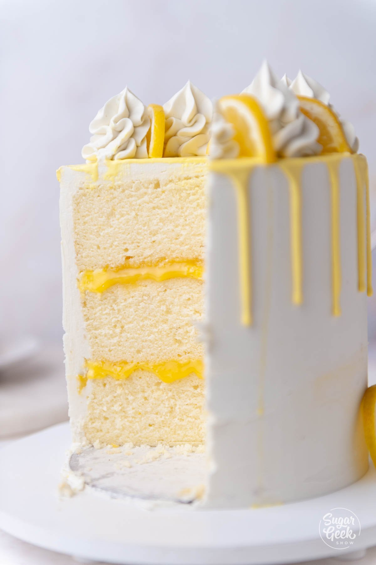 closeup of sliced lemon cake