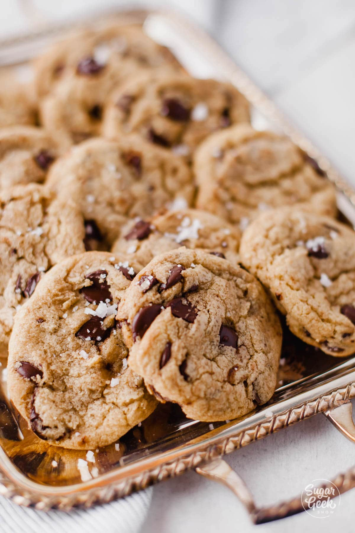 close up of a tray of chocolate chip cookies