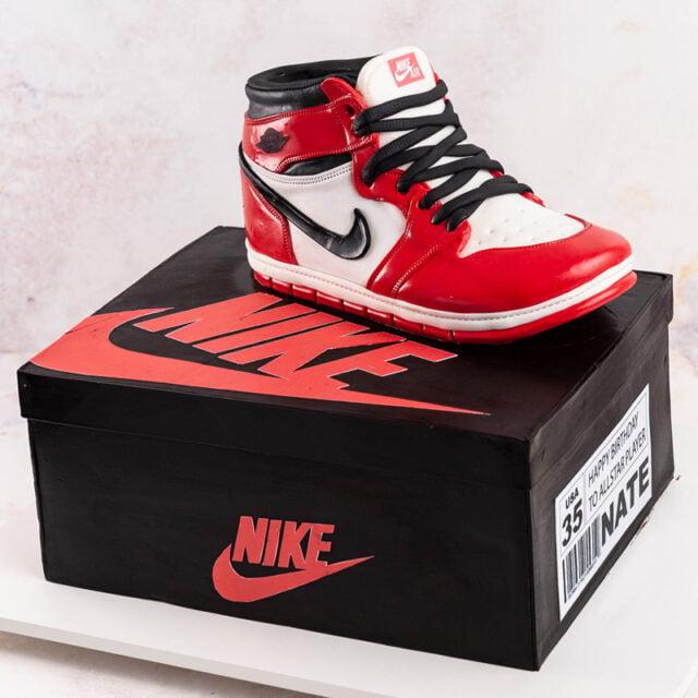 Cake carved to look like Air Jordan Nike Shoe and Shoe Box