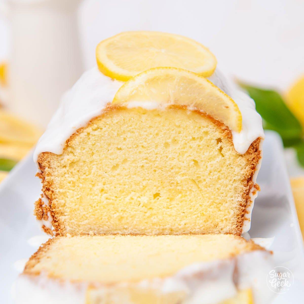 close up of pound cake sliced