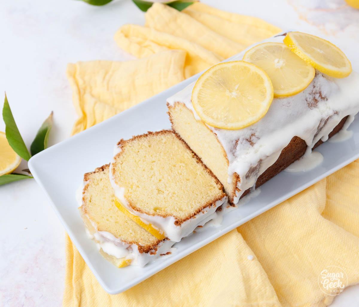 lemon pound cake on a white plate